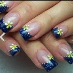 Cool Acrylic Nail Designs With Flowers And Blue, cool nail designs for short nails, cool nail designs at home ~ Cool Nail Art Ideas Fingernail Designs, Nail Polish Designs, Acrylic Nail Designs, Acrylic Nails, Gel Nails, Toenails, Nails Design, Solar Nail Designs, Fingernails Painted