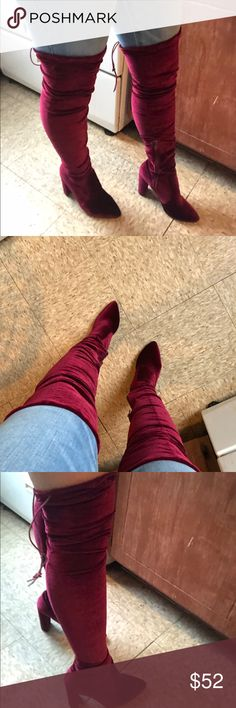 Velvet Over The Knee Boots in Bordeaux ❤️ Super chic, dressy, and flirty knee high heeled boots. These are sooo stylish and versatile. The boots have a draw string in the back to adjust to your leg/thigh circumference.   Only worn twice in my home! Have never worn outdoors. In excellent condition. Public Desire Shoes Over the Knee Boots