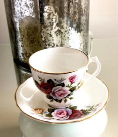 Arklow Tea Cup Multicolored Roses Irish Bone China Gold