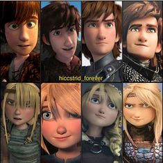 Hiccup and Astrid in HTTYD, RTTE, HTTYD 2, and HTTYD 3! :D