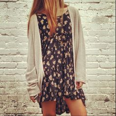 Loose fitted floral dress and cardigan