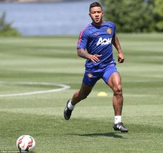 Memphis Depay was among the new arrivals taking part in training as Van Gaal put his signings through their paces