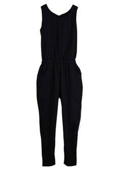 Navy Mid Waist Elastic Straight Chiffon Jumpsuit Arbeta Mode d98b0e982ef1a