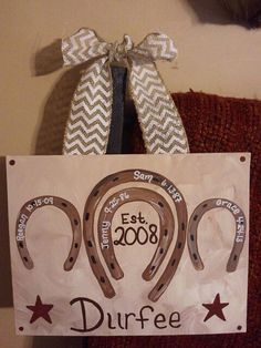Hand Painted Horse Shoe Family Tree Canvas - Cute Idea - Could Change It Around for a Gift Idea.