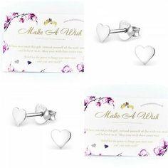 Sterling Silver Earrings Mum Girlfriend Sister Friend Love Hearts Quote Wish