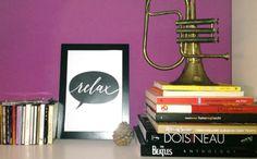"""Affiche """"Relax"""" chez Alessia // Poster """"Relax"""" a casa di Alessia  #LettersLoveLife  #déco #maison #écriture à la main #arredamento #casa #scritto a mano #interiordesign #decor #home #decorating #handwriting #lamp"""
