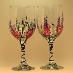 Hand Painted Lupine Wine Glasses /  2 by svcalligraphy on Etsy, $40.00