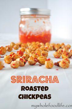 Sriracha Roasted Chickpeas.  Crunchy chickpeas covered in homemade sriracha sauce.  These are seriously addicting! #vegan #snacks #healthysnacks #glutenfree