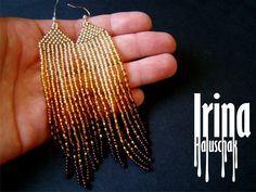 Gold gradient beaded earrings, seed bead earrings, bead earrings, gradient from light gold to dark gold, boho earrings, long earrings by IrinaHaluschak on Etsy