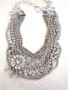 Chunky Rhinestone Necklace Bib Statement For Garden Wedding Flower Bridal Rhinestone & Silver Chain for Vintage Wedding (Tom Binns Inspired)...