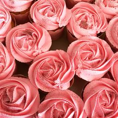 Butter cupcakes with pink roses
