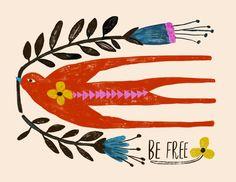 Be Free Riso Print — Carolyn Gavin Pop Up Karten, Lilla Rogers, Hope Symbol, Symbols Of Hope, Illustrations, Bird Illustration, Illustration Artists, Art Graphique, Pics Art