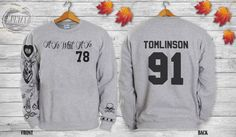 Louis Tomlinson Tattoos One DIRECTION 1D Crewneck Sweatshirt Sweater and Hoodie Jumper ADD TOMLINSON 91 screenprint front and back Product Information: