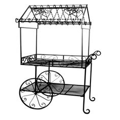 With plenty of charm and a variety of places to hang plants, this Deer Park Ironworks Black Flower Cart Plant Stand is a darling addition to your. Paris Theme Decor, Farmers Market Display, Market Displays, Merchandising Displays, Garden Cart, Flower Cart, Deer Park, Flower Stands, Roof Design