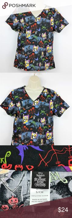 """Disney Nightmare Before Christmas Scrub Top Disney Nightmare Before Christmas Scrub Top Women's Small Jack Skellington  Like new,no evidence of wear. Two front patch pockets,V neck and short sleeves, side vents. See measurements for proper fit  Size: Small Measurements- Chest (pit to pit): 20"""" Height (back of collar to hem): 25-1/2"""" Disney Tops Blouses"""