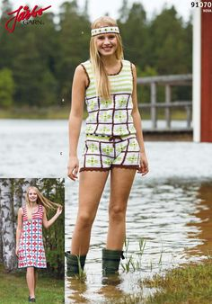 Get cool with granny squares! Crochet your own dress, tank top, shorts and hairband.