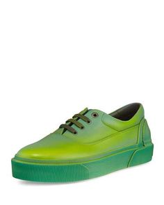 LANVIN Ombre Leather Low-Top Sneaker, Green/Yellow. #lanvin #shoes #