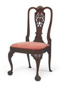 THE ROBERT AND MARGARET LIVINGSTON QUEEN ANNE MAHOGANY CYPHER-BACK SIDE CHAIR , Christies