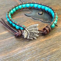 Rustic Indian & Turquoise Knotted Leather Wrap Bracelet 40.00