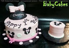 Minnie Mouse cake with matching smash cake for a 1st birthday.