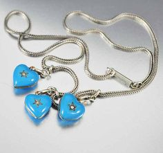 Victorian Necklace Enamel Puffy Heart Charm Necklace Sterling Silver Heart Necklace Antique Jewelry
