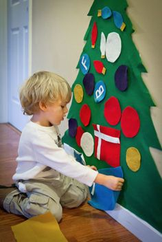Like a felt board, only a Christmas tree they can get their hands on and redecorate it as often as they like.