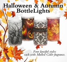 Our Halloween and Autumn BottleLights are perfect for adding a touch of Fall to your decor.  Now available in four fanciful styles, each with our famous Mulled Cider fragrance.