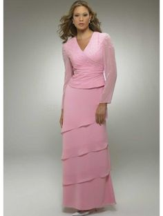One-Piece Pink Long Sleeves Ruffles Beaded Satin Chiffon Mother Of Bride And Groom Dress