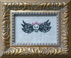 "Lisette, Mavis Leahy, Hand embroidered on vintage linen, repurposed frame, 4 ½"" 5 ½"", $35"