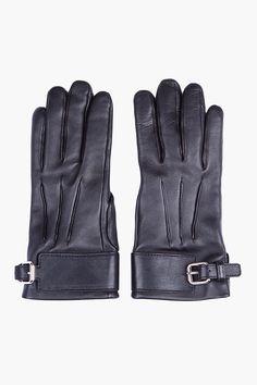 YVES SAINT LAURENT Black plongé Leather Gloves