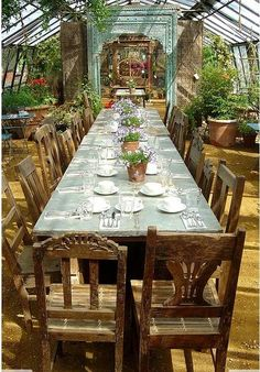 This space is amazing! Beautiful Greenhouse / Outdoor dining / Sitting Area / Greenery / Garden Space