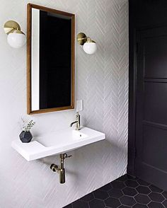 A powder room is just a rather more fancy way of referring to a bathroom or toilet room. Just like in the case of a regular bathroom, the powder room may present different challenges related to its interior design and… Continue Reading → Bad Inspiration, Bathroom Inspiration, Bathroom Renos, Bathroom Interior, Bathroom Vanities, Sinks, Bathroom Ideas, Bathroom Styling, Design Bathroom