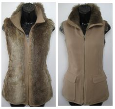 Faux fur reversible vest. Multi brown faux fur reverses to camel color knit. Sleeveless, zip front with dual pockets. SIZE Small