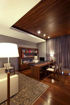 View full picture gallery of Oficinas ACBC Ceiling Wood Design, Office Ceiling Design, Office Cabin Design, Shop Interiors, Office Interiors, Barber Shop Interior, Home Office Layouts, Reception Desk Design, House Outside Design