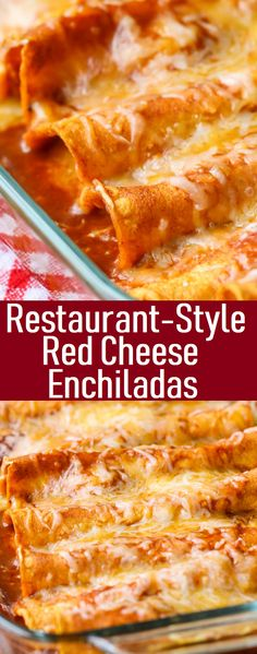Restaurant-Style Red Cheese Enchiladas - My list of the best food recipes Authentic Mexican Recipes, Mexican Food Recipes, Vegetarian Recipes, Dinner Recipes, Cooking Recipes, Meal Recipes, Authentic Enchilada Recipe, Spanish Food Recipes, Mexican Desserts