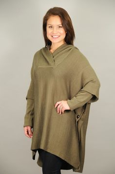 TOPS > Sweaters > Olive Green Button Side Detail Hooded Poncho