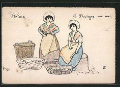 carte postale ancienne: CPA Illustrateur sign.H. Delalain: Artois, A Boulogne sur mer. pêcheurfrauen
