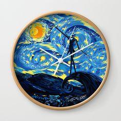 Jack Starry night Wall Clock Wall Clock @pointsalestore #society6 #wallclock #Pattern #Popart #JackSkellingtons #Nightmare #Christmas #Cartoons #Parody #Skull #Tattoo #Vangogh #Starrynight #Fullmoon #Bone #Diadelosmuertos #Dayofthedead #Mexico #Lol