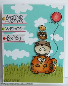 card by SPARKS DT Jessica Bavier PS stamp sets: Chubby Chums, Party Posse, Woofers & Tweeters, Hullabaloo, and Birthday Sampler