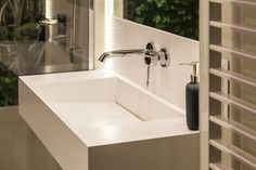 Withe, modern washbashin from composite material
