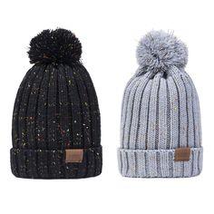 67075cd1bf2 Women Winter Pom Pom Beanie Hat Warm Fleece Lined Thick Snow Knit Skull Ski  Cap