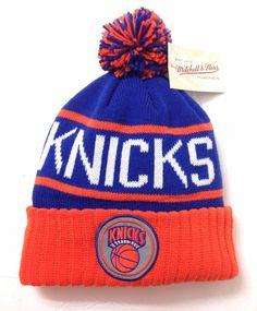 online store c671f 3595e New Mitchell Ness NEW YORK KNICKS POM BEANIE Plush Winter Knit Ski Hat Men  Women