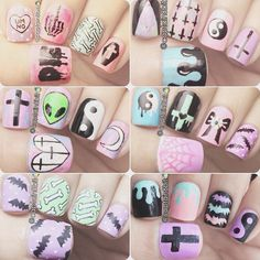 pastel goth nail art by captain8bit.