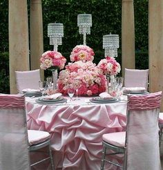 Light Pink And Silver Wedding Theme Reception Decorations Centerpieces Event Decor Flower