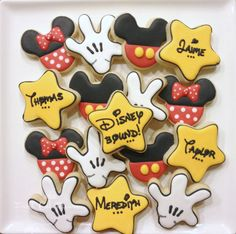 Mickey and Minnie Cookies~           Hand Decorated Sugar by FreshCutFlours, $35.00, White glove, Black mouse ears, red, Yellow star