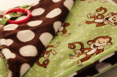 Baby Blanket Monkeys and Brown Polka Dot Cuddle Fabric 27 x 34 inches Generation Gap, Polka Dot Background, Custom Items, Burp Cloths, Monkeys, Cuddle, Printing On Fabric, Baby Shower Gifts, Cute Babies