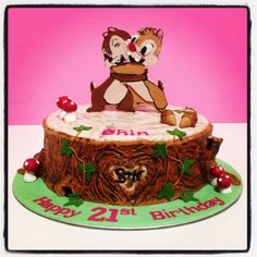 Chip and Dale theme birthday cake done by Zafiel's cakes