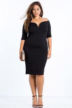 S plus size bodycon dresses minimalist off shoulder dress a&apos Plus Size Black Dresses, Plus Size Bodycon Dresses, Halter Dresses, Wrap Dresses, Dressy Dresses, Ivory Dresses, Plus Size Womens Clothing, Plus Size Fashion, Dresser