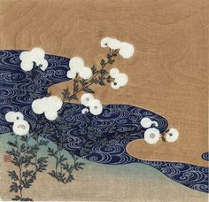 Chrysanthemums by Stream. Tsukioka Kogyo, Japanese (1869-1927) [Rinpa style landscape], color woodcut with metallic pigments and embossing, ca. 1920. 9 1/2 x 9 7/8 inches.