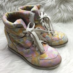 Jeffrey Campbell Wedge Sneakers Colorful design. 4-inch wedge. Gentle used. Good condition. Jeffrey Campbell Shoes Sneakers